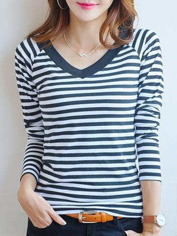 V Neck  Casual  Striped  Long Sleeve T-Shirt