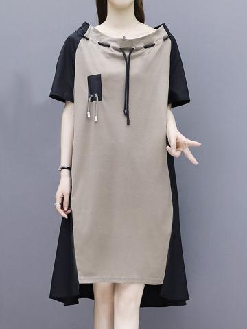 One Word Collar Short Sleeve Color Block Dress
