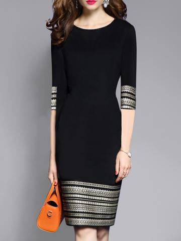Ladies Fashion Round Neck Stitching Dress