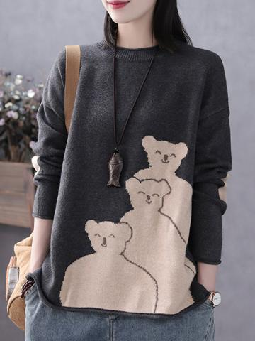 Round  Neck  Patchwork  Casual  Animal Printed  Long Sleeve  Knit  Pullover