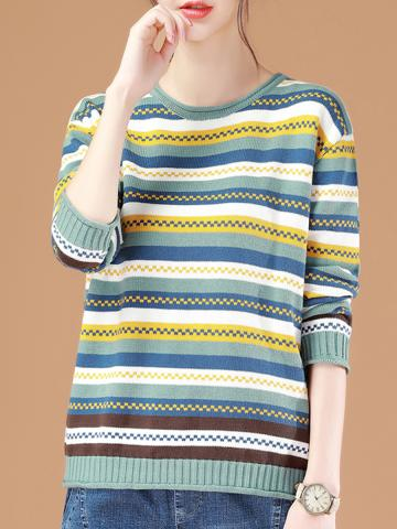 Round  Neck  Patchwork  Elegant  Color Block Striped  Long Sleeve  Knit Pullover