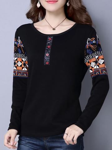 Round  Neck  Patchwork  Casual  Printed  Long Sleeve  T-Shirt