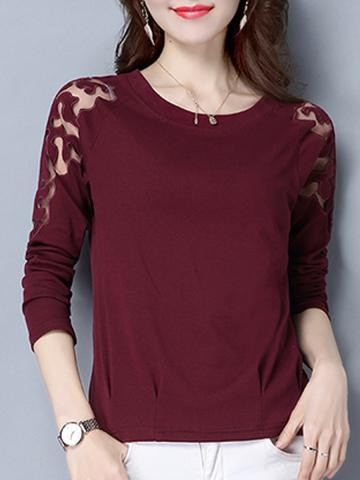 Round Neck Patchwork Lace Long Sleeve T-Shirt