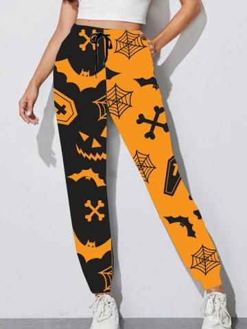 Fashion color-blocking Halloween print lace-up casual pants