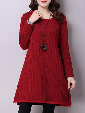 Women's Literary Warm Solid Color Dress