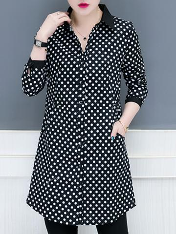 Lapel  Patchwork  Brief  Polka Dot  Long Sleeve  Blouse
