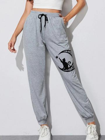 Halloween casual printed lace-up trousers