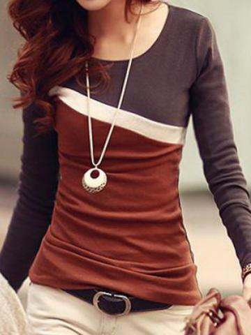 Round  Neck  Casual  Color Block  Long Sleeve   T-Shirt