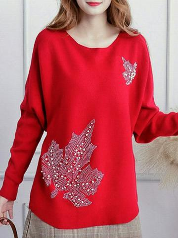 Round  Neck  Beads  Cute  Knit  Pullover