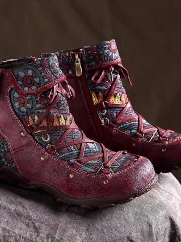 Tribal Printed  Round Toe Boots