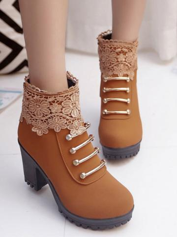 Lace Plain  Chunky  Round Toe Boots