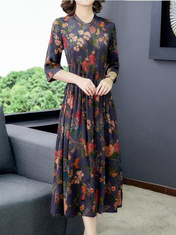 Round Neck Printed Over-the-knee Floral maxi Dress