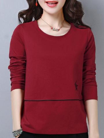 Round  Neck  Patchwork  Casual  Star  Long Sleeve  T-Shirt