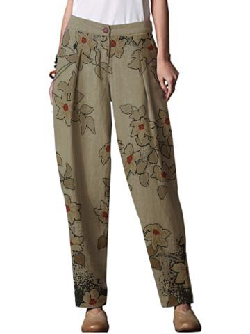 Autumn and winter new fashion cotton and linen printed casual wide-leg pants