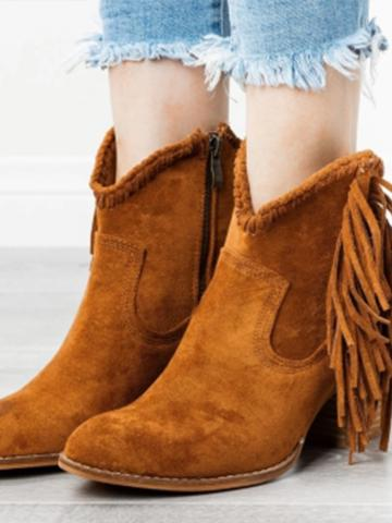 Plain Chunky High Heeled Round Toe Outdoor Boots