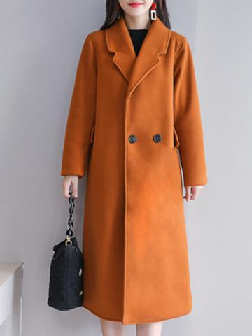 Women's fashion solid color mid-length coat