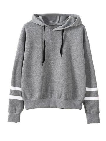 Casual  Contrast Piping  Colouring  Shoulder Sleeve  Long Sleeve Hoodie