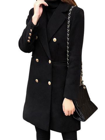 Woolen women's coat mid-length double-breasted