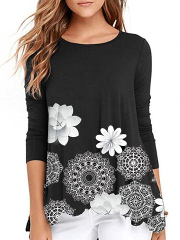 Casual Round Neck Printed Long Sleeve T-Shirts
