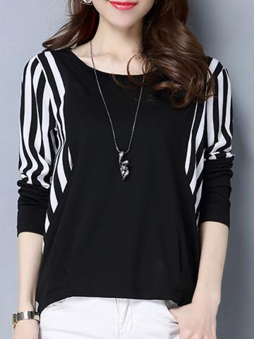 Round  Neck  Patchwork  Casual  Striped  Long Sleeve  T-Shirt