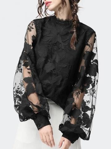 Plant Puff Sleeve Lace Standard Womens Blouse