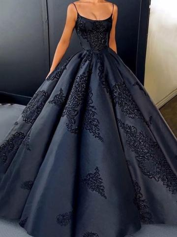 Spaghetti Straps Appliques Ball Gown Evening Dress