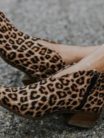 Chunky Heel Side Zipper Leopard Pointed Toe Womens Ankle Boots