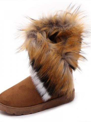 Slip-On Round Toe Plain Purfle Womnes Mid Calf Boots