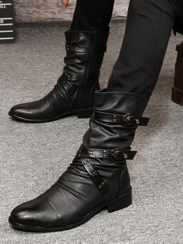 Shoespie Side Zipper Pointed Toe Plain Mens Ankle Boots