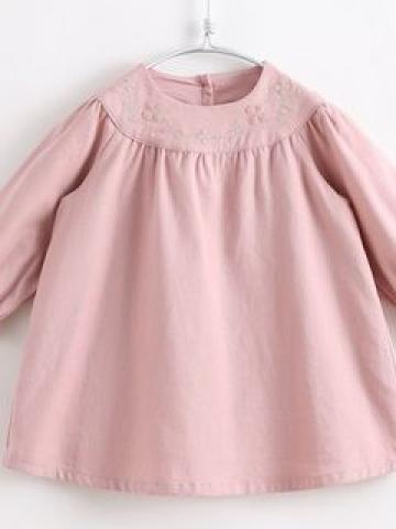 Kids Embroidered Long-Sleeve Dress