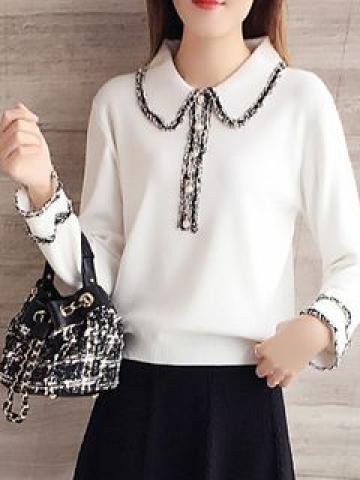 Long-Sleeve Collared Ruffle-Trim Knit Top