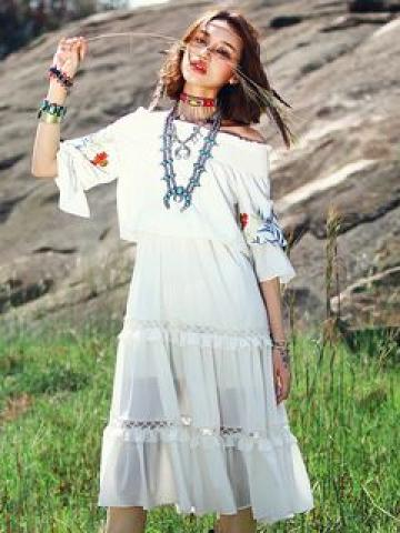 Ethnic Embroidered Off-Shoulder Elbow-Sleeve Gathered-Waist Chiffon Maxi Dress