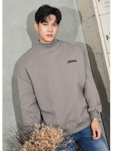 Mock-Neck Embroidered Fleece-Lined Pullover