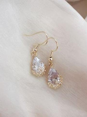 Faux Crystal Drop Earring 1 Pair - As Shown In Figure - One Size