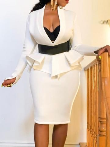Ericdress Office Lady Plain V-Neck Bodycon Two Piece Sets
