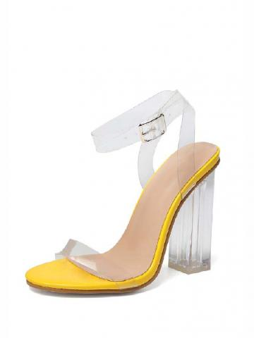 Cinderella Clear Straps Perspex And Clear Block Heel Sandal