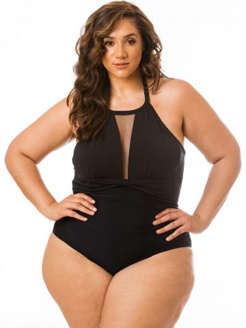 Solid Black One Piece with Mesh
