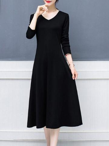 New Fashion Solid Color Shift Dress