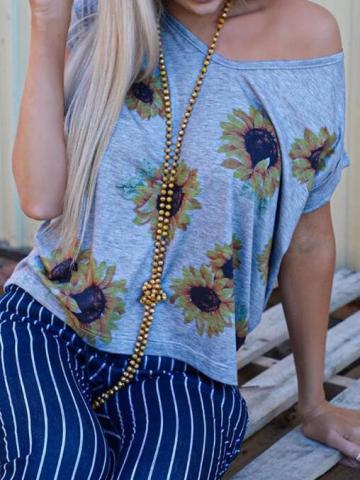 Sunflower Printed Blouse without Necklace - Gray
